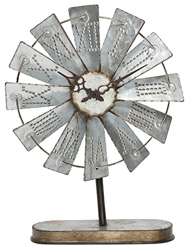 Special T Imports 20″ Rustic Galvanized Metal Windmill Desk Clock
