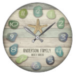 Sea Glass Starfish Driftwood Ocean Large Clock