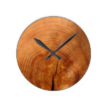 Simple Rustic Wood Texture Pattern Round Clock