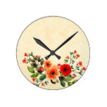 Watercolor Poppy Customizable Personalized Round Clock