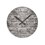 Boho white rustic dreamcatcher floral doodles wood round clock