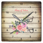 Charming Barn Wood Scissors and Roses Hairstylist Square Wall Clock