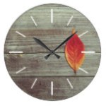 Rustic Autumn Leaf Wood Background Photography Large Clock