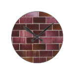 Rustic Brick Red Tile Texture Pattern Round Clock