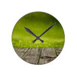Spring Grass Raining on Woods Round Clock