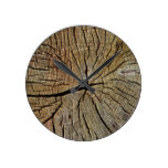 Wood Texture Grain Tree Year Rings Pattern Round Clock