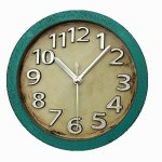 Usany 5 inch Vintage Wood Pattern Analog Table Clock Arabic numbers Silent Non-ticking Quartz Desk Clock Alarm Clock Round Desk Clocks 3D Clock (Green)
