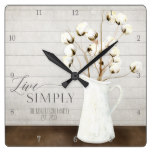 Farmhouse Shiplap Wood Live Simply Pitcher Cotton Square Wall Clock