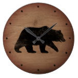 Grizzly Bear Silhouette Rustic Style Large Clock
