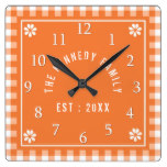 Personalized Family Name Orange Gingham Square Wall Clock