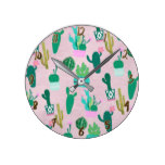 Pink Rustic Southwestern Cacti Cactus Plants Round Clock