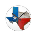 Rustic Texas Sign Round Clock