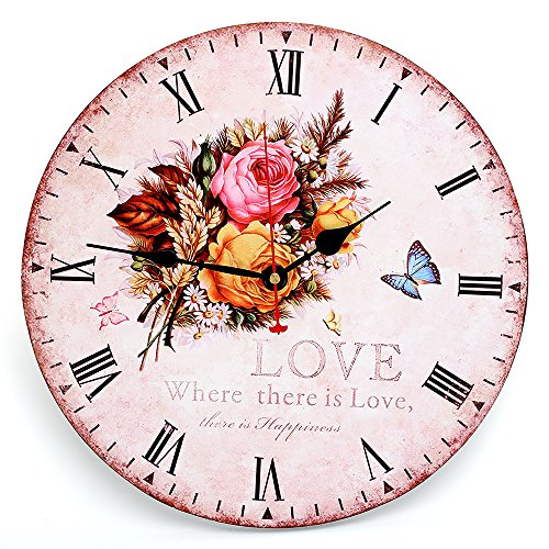 Decorative Wall Clock ,RELIAN 14 Inch Rose Butterfly Vintage Wood Round Clock Silent Non Ticking for Home Decor