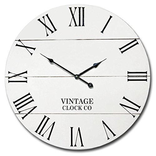 WHITE RUSTIC FARMHOUSE WALL CLOCK | 21-INCH VINTAGE WOODEN ANTIQUE STYLE DECOR