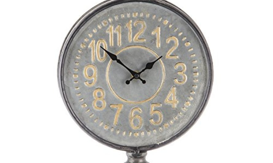 Galvanized Metal Embossed Stopwatch Metal Mantel Clock Vintage Retro Living Room Decorative Non-ticking Analog Large Numerals Bedside Table Desk Alarm Clock, Battery Opera