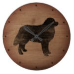 Bernese Mountain Dog Silhouette Rustic Style Large Clock