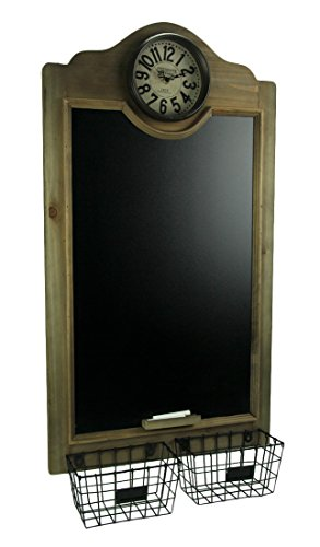 Wood & Metal Chalkboards Rustic Wood Framed Hanging Chalkboard With Clock And Baskets 18.75 X 35 X 5 Inches Brown
