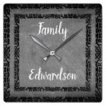 Rustic chalkboard vintage frame family name square wall clock