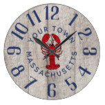 Rustic Nautical Lobster Large Clock
