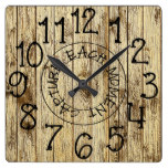 Rustic Personalized Brown Wood Capture Each Moment Square Wall Clock