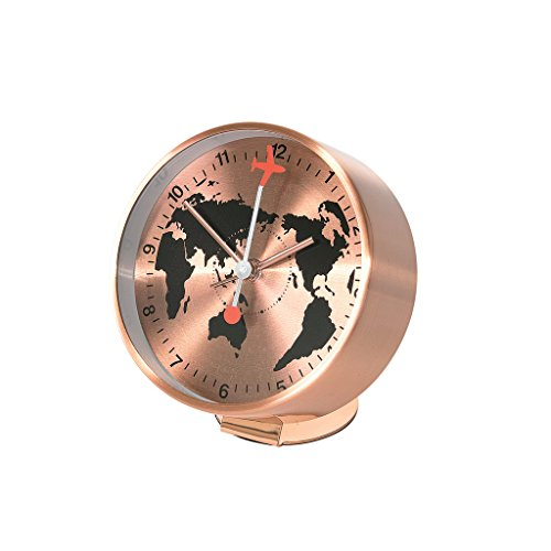 Time Concept Round Globe Bedside Alarm Clock – Copper – Metal Steel Frame, 1 x AA Battery Operated