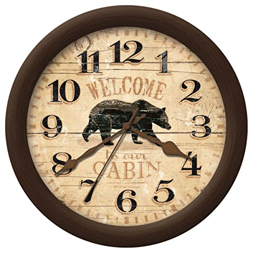 Rustic Cabin Style Home Decor Bear Wall Clock