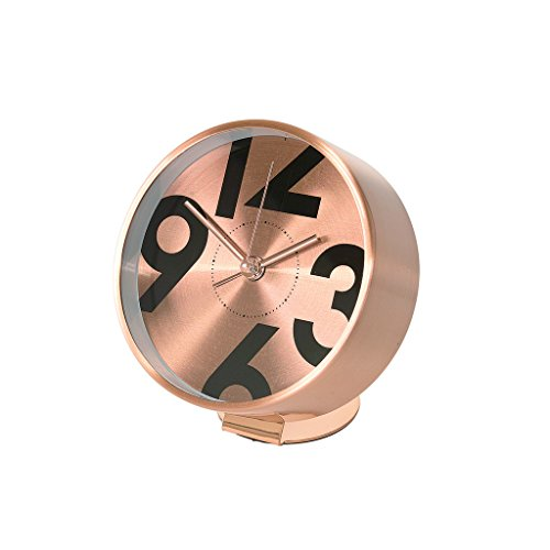 Time Concept Round Number Bedside Alarm Clock – Copper – Metal Steel Frame, 1 x AA Battery Operated