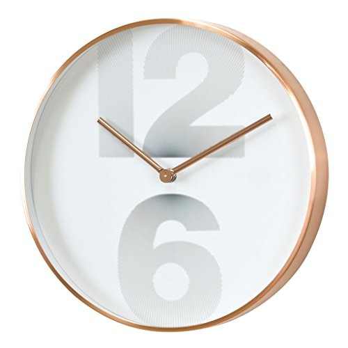 Time Concept 12″ Round Smart Number Wall Clock – Copper – Metal Steel Frame, 1 x AA Battery Operated