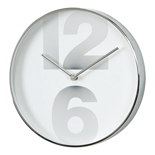 Time Concept 12″ Round Smart Number Wall Clock – Silver – Metal Steel Frame, 1 x AA Battery Operated