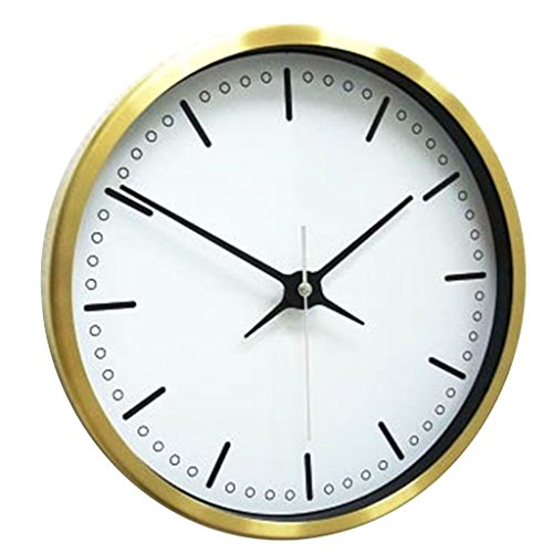 Time Concept 12″ Round Decorative Wall Clock – Simple – Steel Frame, 1 x AA Battery Operated