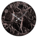 Black & Rose Gold Pink Glitter Marble Glam Trendy Large Clock