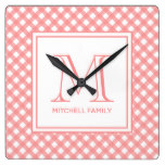 Coral Pink Country Style Gingham Pattern Monogram Square Wall Clock