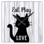 Eat Play Love Black Cat Silhouette on Rustic Wood Square Wall Clock