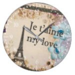 Paris My love Vintage style Large Clock