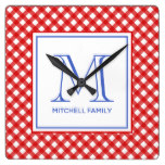 Red & Blue Country Style Gingham Pattern Monogram Square Wall Clock