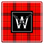 Red Plaid Black Tartan Custom Monogram Initial Square Wall Clock