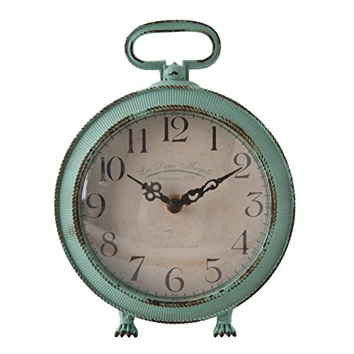 "NIKKY HOME Vintage Metal Round Table Clock with Handle and Dragon Feet Stand for Home Living Room Bedroom Decor 5.6"" by 2.2"" by 7.5"", Distressed Aqua Blue"