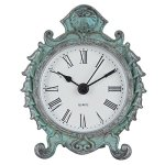 "NIKKY HOME Baroque Style Pewter Quartz Round Table Clock 3.12 1.35 3.87"", Dark Green"