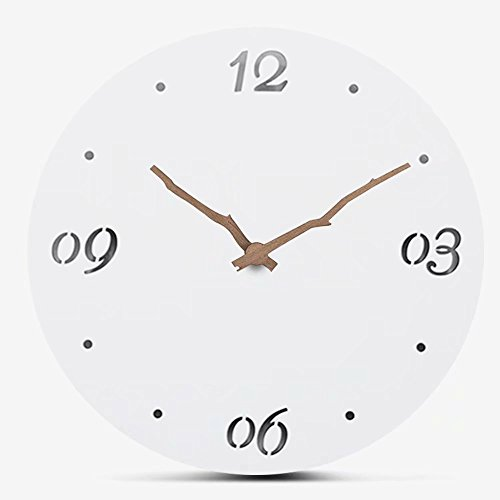 FlorLife Simple White Wall Clock, Moistureproof MDF Wooden Hanging Clock European Creative Accurate Quartz Clock without Ticking Sound Home Decor 12 Inch
