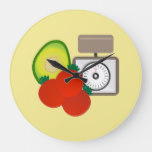 Avocado & Tomatoes Kitchen Chef Large Clock