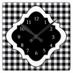 Black And White Gingham Country Square Wall Clock