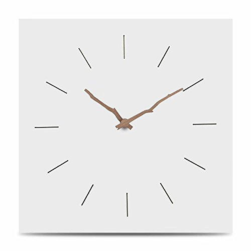 FlorLife New Decorative Europe MDF Wooden Wall Clock Modern Design Living Room Home Wall Decor Square Solid Wood Silent Hanging Watch