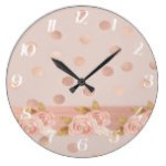 Elegant Rose Gold Polka Dots and Florals Large Clock