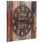 P Graham Dunn Time With Family Well Spent Brown Rustic 18 x 21 Inch Wood Pallet Wall Hanging Clock