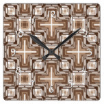 Modern Tribe Mosaic Native American Indian Pattern Square Wall Clock