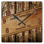 Personalized Rustic Wedding Gift Ideas for Couples Square Wall Clock