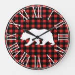 Rustic Buffalo Check Plaid & White Bear Silhouette Large Clock
