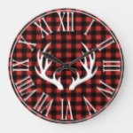 Rustic Buffalo Check Plaid & White Deer Antlers Large Clock