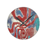 Rustic Wood Grain Knot Texture in Red Blue White Round Clock