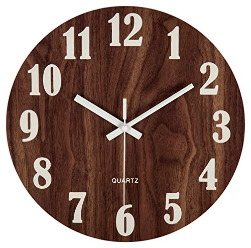 jomparis 12″ Night Light Function Wooden Wall Clock Vintage Rustic Country Tuscan Style for Kitchen Office Home Silent & Non-Ticking Large Number Battery Operated Indoor Clocks
